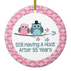 55th Anniversary Owl Wedding Anniversaries Gift Christmas Ornaments 35th Gifts