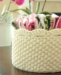 "Crochet Storage Basket with Lace Edge - Off White - Round 7.5"" / 19cm. $22.00, via Etsy."
