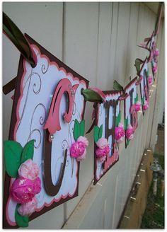 Items similar to Handmade Banner - Custom made - GO GREEN - Name Banner Happy Birthday Baby Shower Bridal Shower Flowers on Etsy Happy Birthday Baby, Birthday Cards For Mom, Birthday Wishes Cards, Happy Birthday Banners, Birthday Ideas, Paper Doily Crafts, Paper Bunting, Cricut Banner, Hawaiian Baby Showers