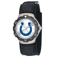 NFL Men's FDV-IND Agent Series Indianapolis Colts Velcro Watch Game Time. $24.99. Water Resistant Depth to 30 Meters; Stainless Steel Case back; Limited Lifetime Warranty; Adjustable Nylon strap with Velcro; Rotating Bezel with Quartz Accuracy, Shock Resistant