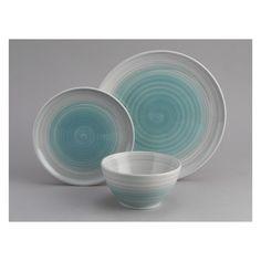 Habitat Atkinson 12-Piece Blue Dinnerware Set, Earthenware