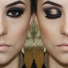 maquiagem preto e dourado, perfeito, lindo                              …