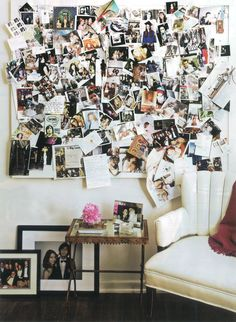 Messy photo collage - add polaroid camera for guests/visitors to take their picture and hang it up.