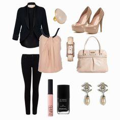 Black&Coral. Love this look! <3