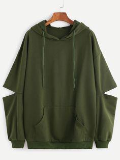 Army Green Drop Shoulder Elbow Cutout Hooded Pocket Sweatshirt — 0.00 € color: Green size: L,M,XL,XXL