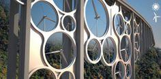 Un viaducte que genera energia eolica. Possible aplicacio a cases.