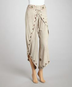 Take a look at this Fawn Embroidered Dhothi Pants by The OM Company on #zulily today!
