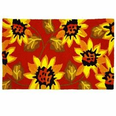 """Sunflowers on Red Doormat-JellyBean Rug by Home Comfort. $34.99. Weight Capacity:. Material:. Color: Yellow