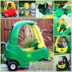 I even have a cozy coupe we can do this with!! -skh  cozy coupe to john deere mobile I wanna do the for Adriana but pink where it's green and green where it's yellow!