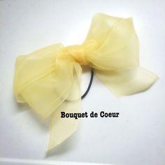 ハンドメイド♡ フェミニンシフォンリボンゴム♡ 全6色♡レモンイエロー  http://s.ameblo.jp/bouquet-de-coeur/  Handmade ribbon hair accessory Lemon yellow colour