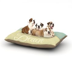 """Alison Coxon """"Gone To The Beach"""" Tan Blue Dog Bed"""