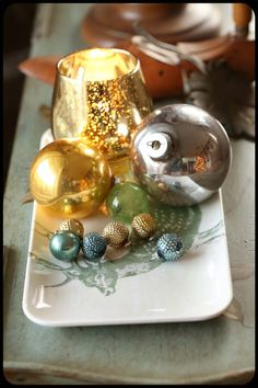simple decorations, candle, ornaments, pretty tray