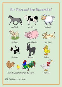 Die Tiere auf dem Bauernhof