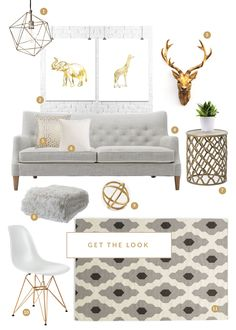 Great Decorating With Grey, White And Gold