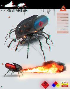 firebug firestarter bot, vnmribaya gerónimo ribaya on ArtStation at… Robot Concept Art, Creature Concept Art, Armor Concept, Weapon Concept Art, Futuristic Armour, Futuristic Art, Futuristic Technology, Futuristic Motorcycle, Cyberpunk