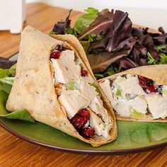 Roll With It: 21 Healthy Wrap Recipes Sonoma Chicken Salad: Lighten up the standard mayo-laden chicken salad and try this chicken salad wrap that uses plain yogurt and apple cider vinegar to tie everything together. Tortillas, Sonoma Chicken Salad, Sonoma Diet, Healthy Wraps, Veggie Wraps, Yummy Wraps, Cooking Recipes, Healthy Recipes, Clean Recipes