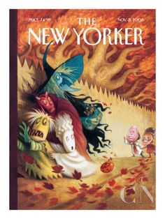 "Halloween cover for The New Yorker by Carter Goodrich. (Issue dated Nov. ""A True Scare"" Halloween Poster, Halloween News, Halloween Art, Holidays Halloween, Vintage Halloween, Happy Halloween, Halloween Prints, Halloween Images, Halloween Decorations"
