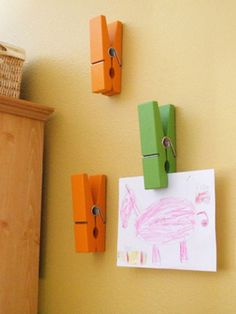 Love the large clothes pins to display this kids artwork. Great idea for playroom Playroom Art, Art Wall Kids, Art For Kids, Crafts For Kids, Kid Art, Kids Work, Playroom Ideas, Wall Art, Displaying Kids Artwork