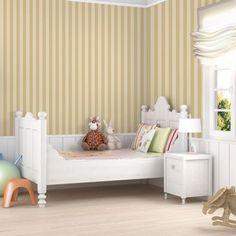 Carta da parati neonato | Camerette colorate fai da te - 6 Toddler Bed, Beige, Berlin, Furniture, Home Decor, Products, Striped Wallpaper, Wallpapers, Yellow