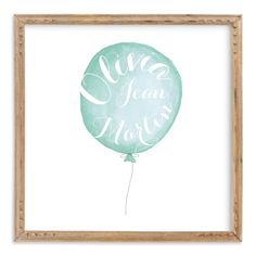 """Calligraphy Balloon"" - Children's Custom Art Print by Petal and Print in…"