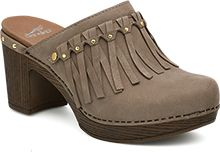 On-trend fashion clog with a block heel and fringe embellishments in Taupe Leather.