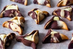 marbled cheesecake hamantaschen – smitten kitchen Cookie Desserts, Just Desserts, Cookie Recipes, Delicious Desserts, Dessert Recipes, Baking Recipes, Winter Desserts, Gf Recipes, Cookie Ideas