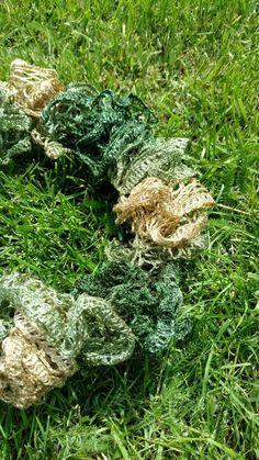 Crochet Ruffle Scarf Army Scarf Camo Scarf by EnchantingCreations7