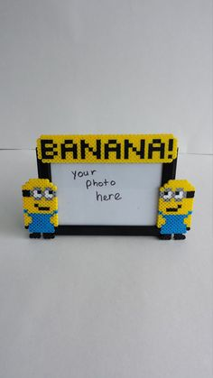Picture Frame Minion perler beads by BurritoPrincess