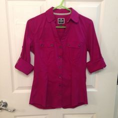Express button down shirt Express, button down, fuchsia shirt. Fitted, comfortable, easy to wear with dress pants and tuck in pencil skirts. Express Tops Button Down Shirts