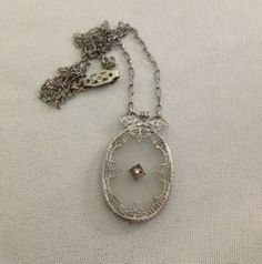 Antique art deco filigree camphor glass rock crystal & diamond pendant necklace on paperclip chain