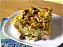 Hungry Girl Recipe:  Ham and Cheese Egg Strata Bake- Made this i guess about a month or so ago and it came out excellent. It also lasted Andrew and I both having a serving each morning for about 5 days