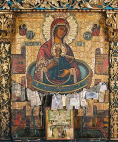 Icon from Paros, decorated with votive offeringsTheotokos of the Life-Giving Spring (Ζωοδόχος Πηγή). Icon from Paros, decorated with votive offerings. Blessed Mother Mary, Blessed Virgin Mary, Religious Icons, Religious Art, Orthodox Catholic, Christian Artwork, Mama Mary, Religious Paintings, Byzantine Icons