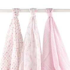 Hudson Baby Muslin Swaddle Blankets, Pink Feathers