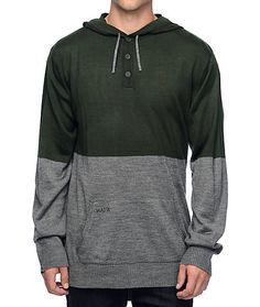 Matix Nordic Green & Grey Henley Hooded Sweater