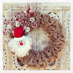 Santa Claus with Christmas Spray Burlap Wreath Burlap Christmas, Christmas Wishes, Christmas Time, Christmas Wreaths, Christmas Decorations, Xmas, Christmas Goodies, Christmas Stuff, Christmas Ideas