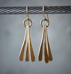 Bronze and 14k Gold Filled Triple Petal Earrings