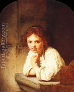 """Rembrandt - A Young Girl Leaning On A Window-Sill. Thanks to the unique exposition """"The Complete Rembrandt"""", Amsterdam (a photo-collection). that I visited twice in July I was able to make this detail shot. Dutch Artists, Famous Artists, Rembrandt Paintings, Rembrandt Art, Oil Paintings, Dulwich Picture Gallery, Pierre Auguste Renoir, Dutch Painters, Oil Painting Reproductions"""