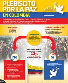Este 2 de octubre los colombianos saldrán a votar con el objetivo de aprobar o rechazar el Acuerdo de Paz entre el gobierno y las FARC.  #Infographic