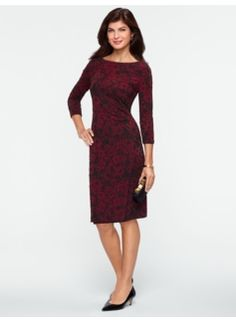 #Talbots Floral Jacquard Dress with three quarter sleeves.