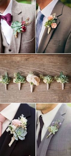 46 Best Ideas to Incorporate Succulents into Your Weddings DIY succulent groom and groomsmen Boutonnieres
