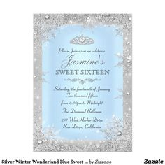 Shop Silver Winter Wonderland Blue Sweet 16 Invitation created by Zizzago. Personalize it with photos & text or purchase as is! Christening Invitations, Bridal Shower Invitations, Birthday Invitations, Cinderella Invitations, Zazzle Invitations, Quince Invitations, Create Invitations, Quinceanera Planning, Quinceanera Party