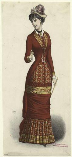 Circa 1881, Woman in dress, Paris, France, 1880s