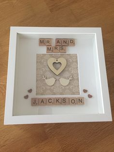 Mr and Mrs Jackson - handmade / personalised scrabble memory frame / wedding, anniversary, love - plus P&P 3d Box Frames, Deep Box Frames, Frames Ideas, Scrabble Letter Crafts, Scrabble Wall Art, Wedding Scrabble Frame, Scrabble Kunst, Handmade Wedding Gifts, Crafts With Pictures