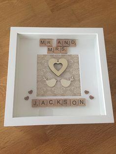 Mr and Mrs Jackson - handmade / personalised scrabble memory frame / wedding, anniversary, love - plus P&P 3d Box Frames, Frames Ideas, Scrabble Letter Crafts, Scrabble Wall Art, Wedding Scrabble Frame, Wedding Frames, Scrabble Kunst, Handmade Frames, Personalised Frames