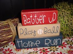 Home Run Slam Dunk Touch Down SPORTS Hike Football Touch Down Batter Up Play Ball Home Run Wood Sign Blocks Primitive Country. $23.95, via Etsy.
