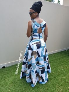 This is beautiful! Shweshwe Dresses, African Maxi Dresses, Latest African Fashion Dresses, African Print Fashion, Africa Fashion, African Attire, African Wear, African Women, African Traditional Dresses