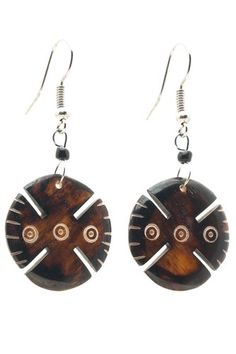 "African Up cycled Camel Batiked Tribe Pattern Bone Earrings-(Brown)-Womens.  Handmade in Africa, hangs 1.75"" long.  NOTE: No animals were harmed in the making of this product.  Great unique gift!  Please review shipping charges and details."