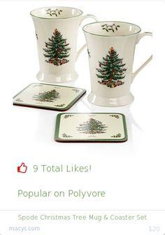 Top christmas gift on Polyvore.  9 people likes on Internet. spode christmas tree mug and coaster set from macys christmas gifts. http://www.MostLikedGifts.com/top-popular-christmas-gifts/macys-christmas-gift-5489bb1de294f20980678e9e-spode-christmas-tree-mug-and-coaster-set