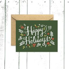 Holiday Greeting Card, Hand Drawn Card, Happy Holidays in Forest Green by augustandoak on Etsy https://www.etsy.com/listing/203986558/holiday-greeting-card-hand-drawn-card