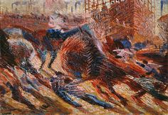 Umberto  Boccioni      Study for The City Rises (Studio per La città che sale), 1910 Oil on cardboard, 33 x 47 cm Gianni Mattioli Collection Long-term loan to the Peggy Guggenheim Collection, Venice
